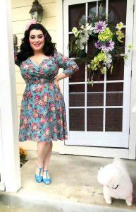 Yasmina Greco Heart of Haute Pinup Donna dress in Vintage Rose Sage Pinup Vintage