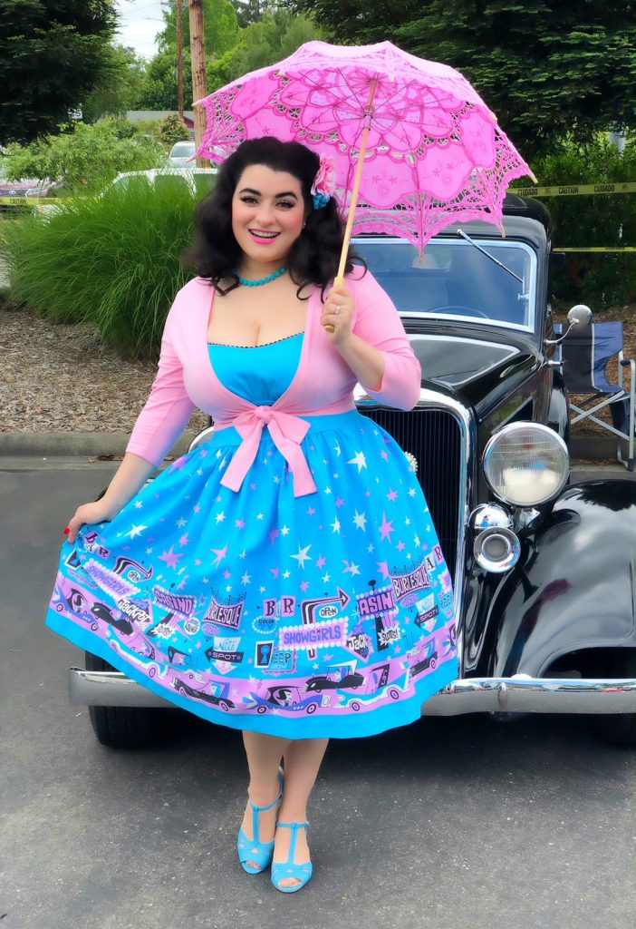 Pinup Couture Ginger Dress in Vegas Boarder Print Yasmina Greco Car Show Pinup Girl