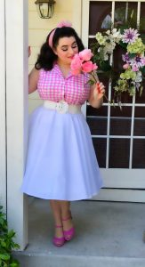 Betsy Blouse Pink Plaid Heart of Haute