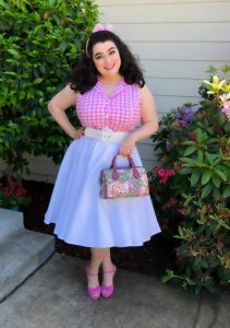 Betsy Blouse Pink Plaid Heart of Haute Gucci Hydrangea