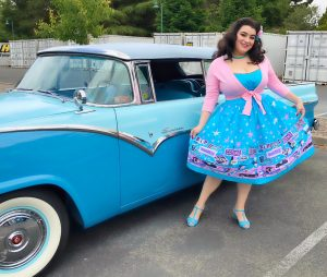 Pinup Couture Ginger Dress in Vegas Boarder Print Yasmina Greco Car Show