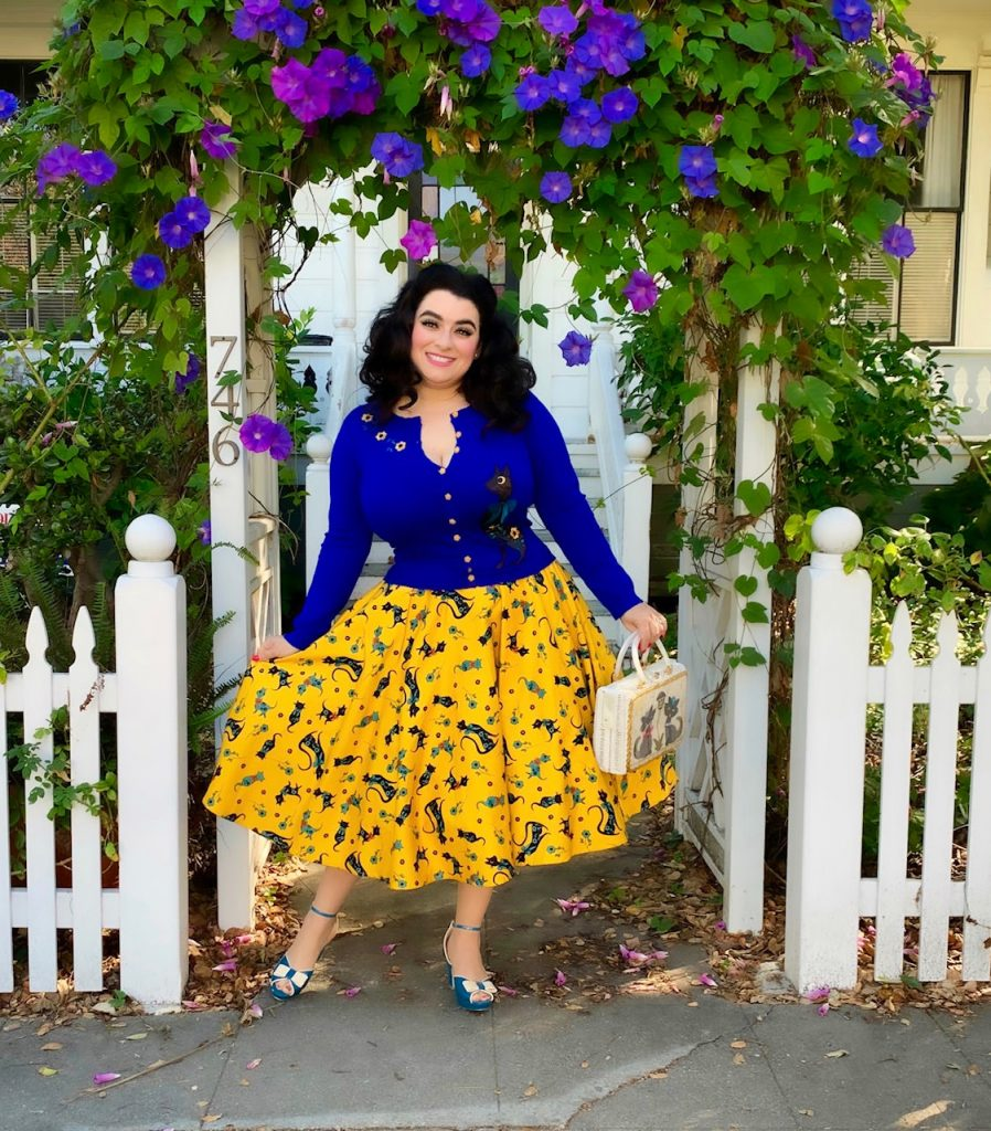 Voodoo Vixen in Annabelle Blue Cat Yasmina Greco Lucy Mustard Cat Flared Skirt