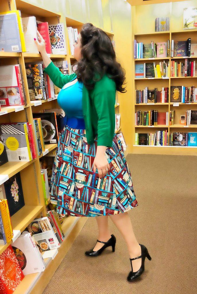 Yasmina Greco Lindy Bop Pryia Burgundy Books Print Swing Skirt