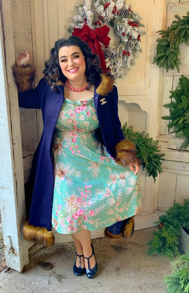 Grandma Buddy's Christmas Tree Farm Yamina Greco Heart of Haute Beverly Dress Sage Pine Cones Hell Bunny Isadora Coat
