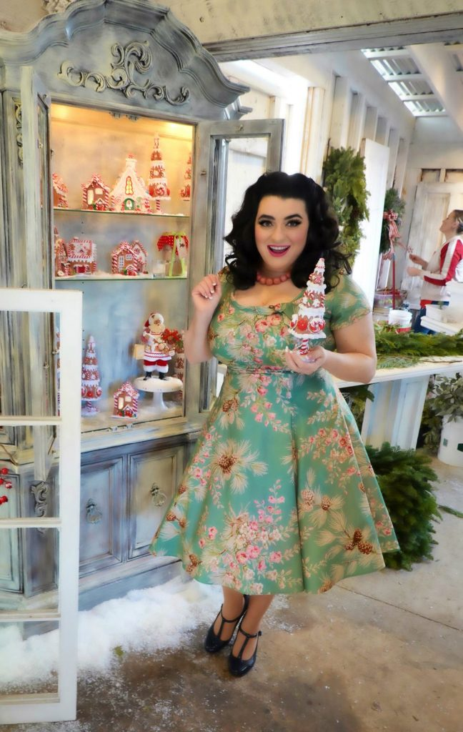 Grandma Buddy's Christmas Tree Farm Yamina Greco Heart of Haute Beverly Dress Sage Pine Cones