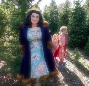 Grandma Buddy's Christmas Tree Farm Yamina Greco Heart of Haute Beverly Dress Sage Pine Cones Hell Bunny Isadora Coat