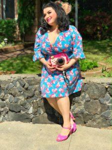 Betsey Johnson Vintage Rose Floral Printed Ruffled-Sleeve Plus Size Dress Review Yasmina Greco