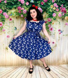 Yasmina Greco in Swing Dress Nautical Anchor Print Lady V London