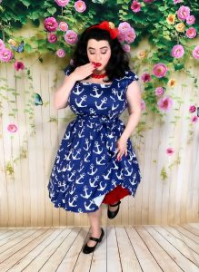 Yasmina Greco in Swing Dress Nautical Anchor Print Lady V London