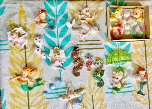 Vintage Lefton Mermaid, Vintage PY Seahorse, Vintage Norcrest Mermaid, Vintage Umbrella Mermaid