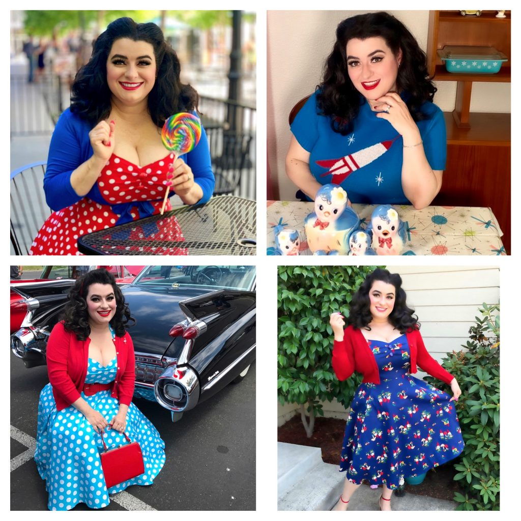 Curvy Patriotic Style Caridgans Sweaters with Yamina Greco