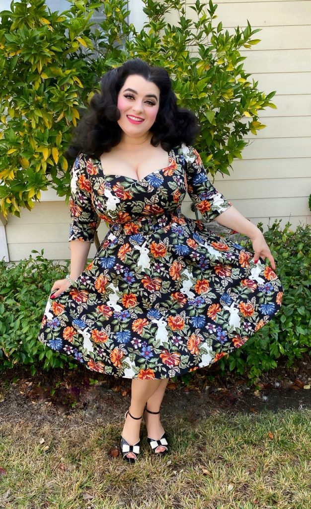 Yasmina Greco Collectif Vintage Eliana Forest Floral Swing dress