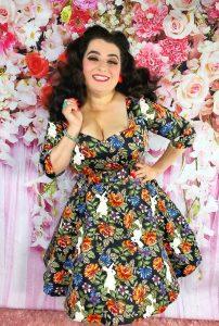 Yasmina Greco Collectif UK Vintage Eliana Forest Floral Swing dress