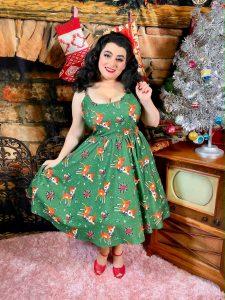 Yasmina Greco Sourpuss Clothing Deer Me Sweets Dress Pine