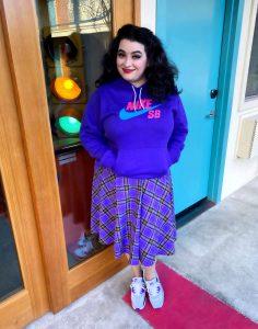 Yasmina Greco The Astro Motel in Sourpuss Clothing Nike Air Max 90 Hyper Grape