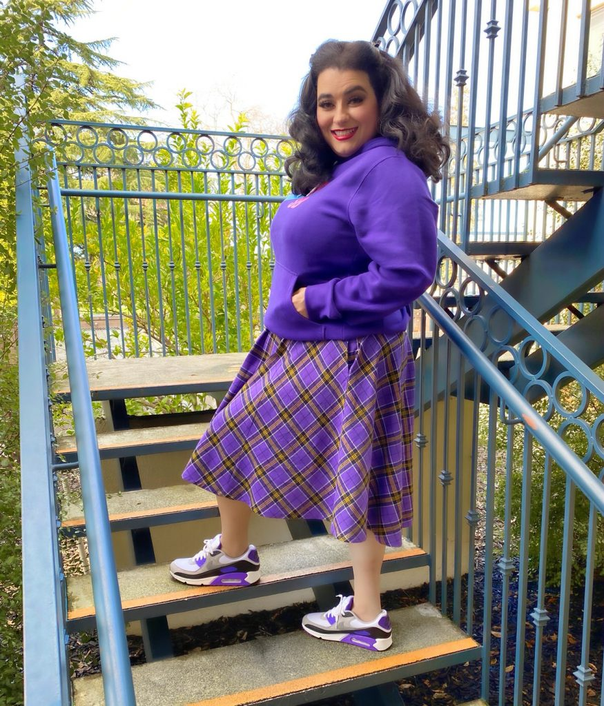 Yasmina Greco The Astro Motel in Sourpuss Clothing Nike Air Max 90 Hyper Grape
