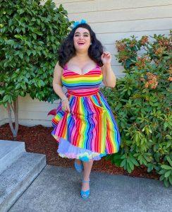 Yasmina Greco Crazy4Me Hell Bunny Rainbow Dress Pinup Curvy Girl