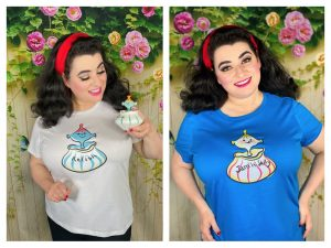 Yasmina Greco with her Holt Howard Pixieware and matching T-Shirts