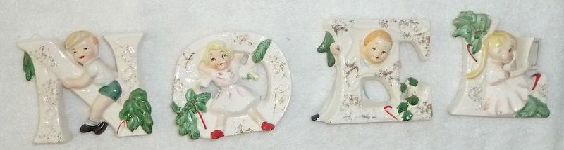 Vintage Christmas NOEL kids figurines by Tilso Japan, 1950s