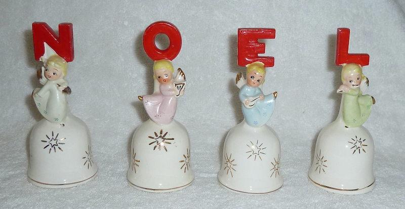 Vintage Christmas NOEL Angel Bells by Dickson Japan late 1950s-1960s