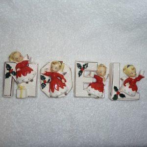 vintage Japan Noel Girl Set angel candle holders