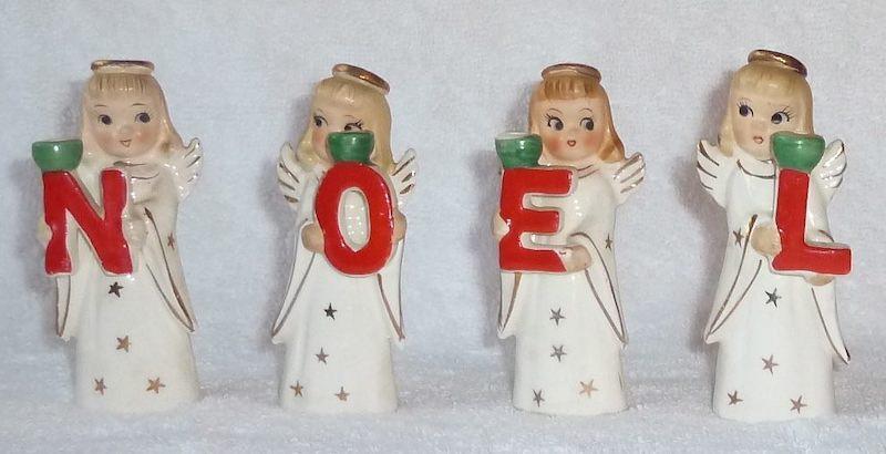 Vintage Heavenly NOEL Angels Candle Holders by Commodore Original, Japan 1950s