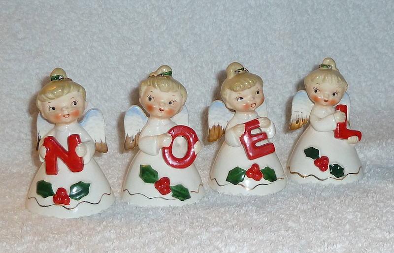 Vintage Christmas Lefton NOEL Angel Bells 1950s