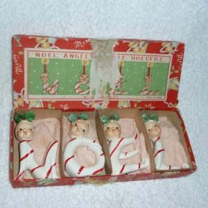 Vintage Candy Cane Pixie NOEL Angel Candle Holders by Commodore
