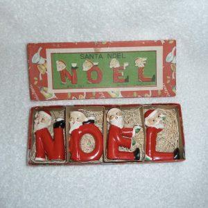 Vintage Christmas NOEL Santa Candle Holders by Relco, Japan 1950s
