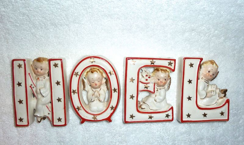 Vintage Christmas NOEL Angels Wall Pocket Figurines by Norcrest 1950s