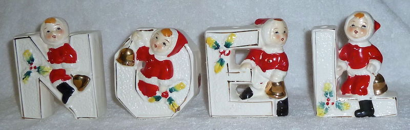 Vintage Christmas NOEL children candle holder by Lipper and Mann 1950s