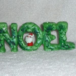 Vintage Holt Howard Santa NOEL Candle Holder in WINTER GREEN 1960S