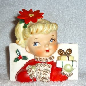 Vintage Christmas Napco Girl Planter with Present