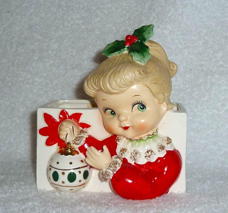 Vintage Christmas Napco Girl Planter with Ornament