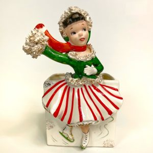 Vintage Christmas Ice Skater Girl Planter Relpo