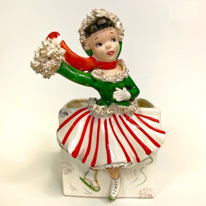 Vintage Christmas Ice Skater Girl Planter Relpo