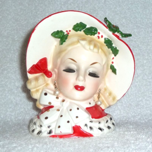 Vintage Christmas Inarco Head Vase Glamour Girl