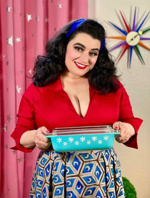 Quarantine Dinner Yasmina Greco with Vintage Turquoise Snowflake Pyrex