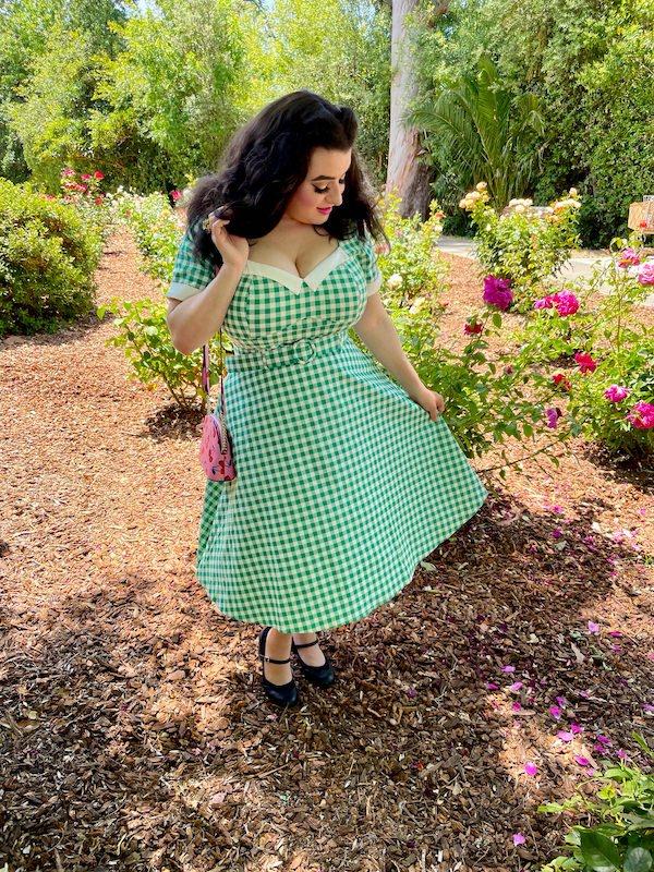 Yasmina Greco in Collectif Clothing Roberta Gingham Swing Dress