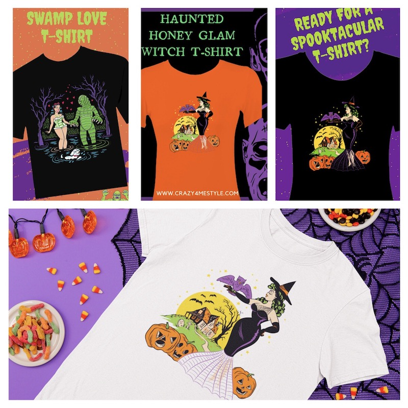 Retro Halloween T-Shirts Witch Bats Haunted House Creature from The Black Lagoon