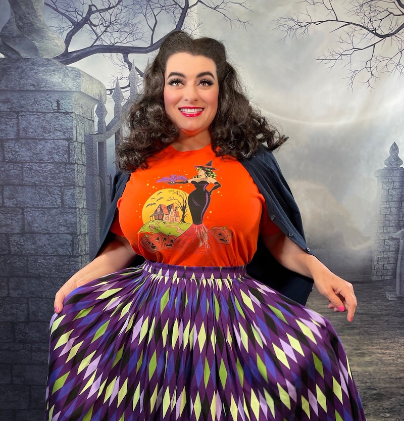 Pinup Rockabilly Halloween T-Shirts Witch Bats Haunted House