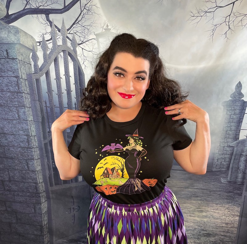 Retro Halloween T-Shirts Witch Bats Haunted House