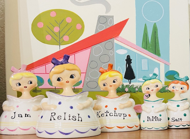 Vintage Pixieware Kitschy-Cute Menschik Goldman Dolly Girl Collection Set