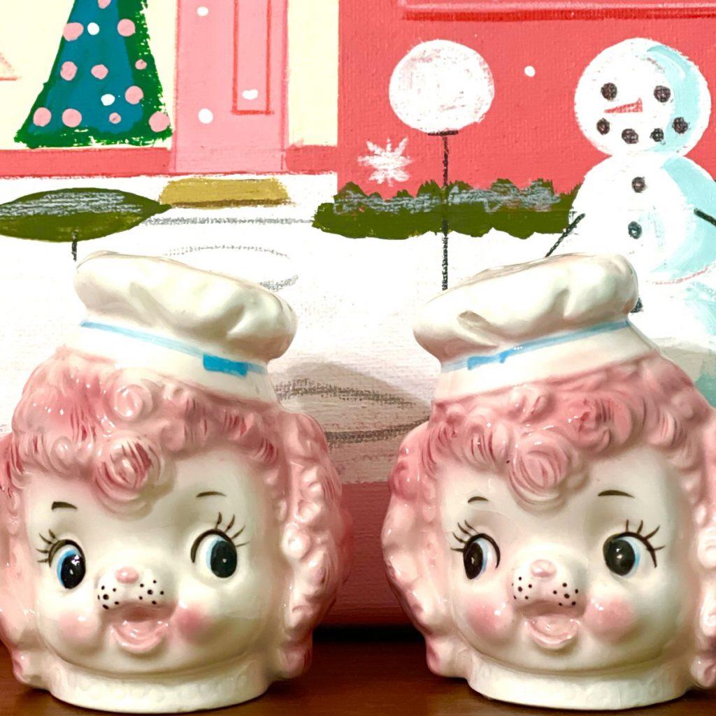 Vintage Lefton Pink Poodle Chef Kitschy-Cute