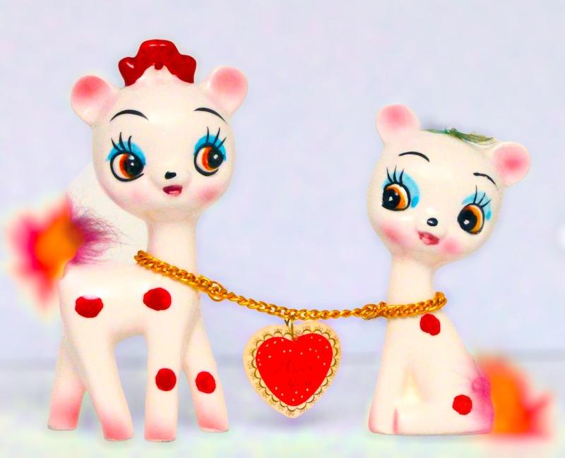Vintage Kitschy-Cute Polka Dot Chained Deer Figurines