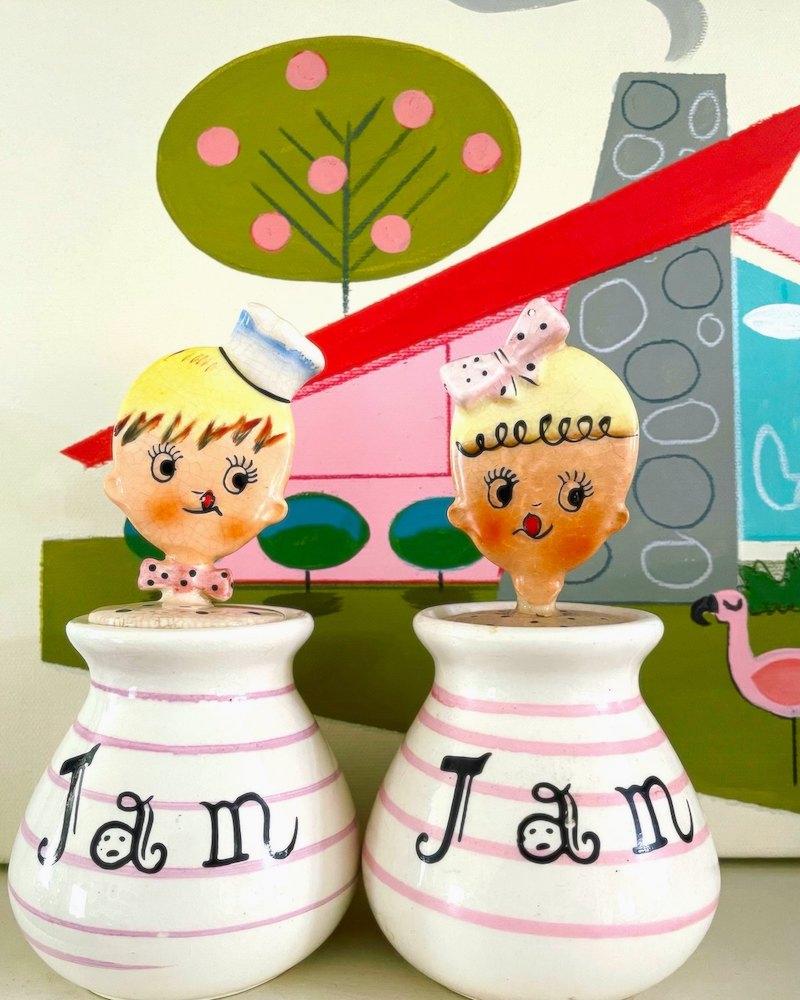 Vintage Lipper & Mann Kitschy-Cute Baby Jam Jars
